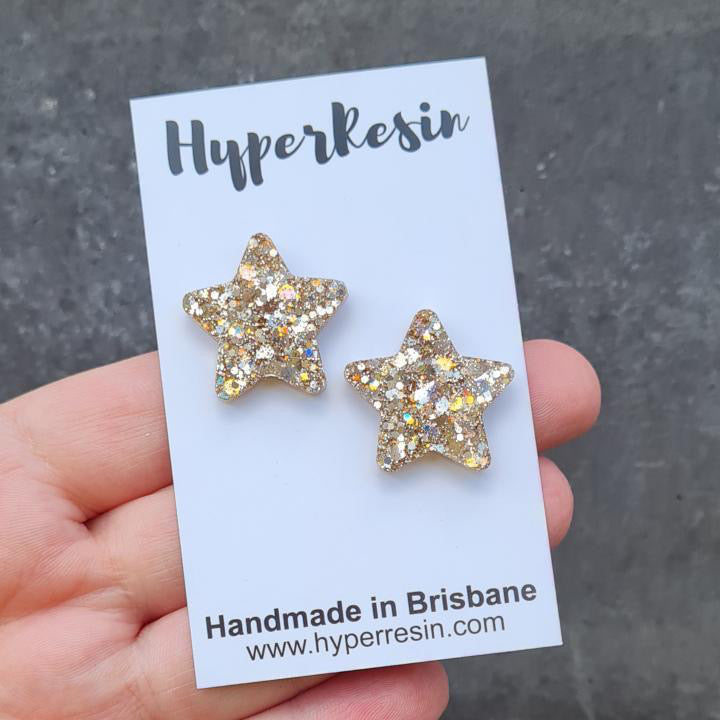 Star Studs - Gold Sparkle