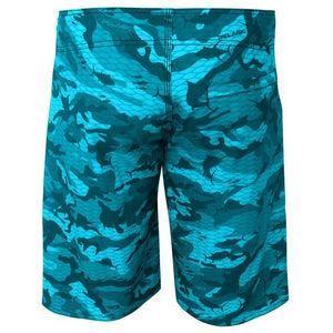 Pelagic 4 Tek Boardshort - Fish Camo Aqua - Fishing's Finest
