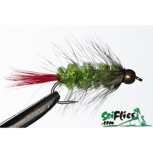SciFlies Red Butted Wolly Worm - Green - Fishing's Finest