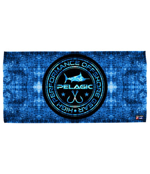 Pelagic Blue Hex Circle Logo Towel