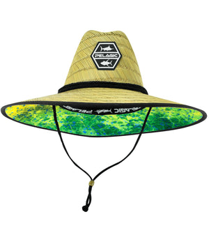 Pelagic Baja Straw Sunhat - Hex Dorado Green - Fishing's Finest