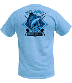 Pelagic Sailfish Company Tee - Heather Light Blue - Fishing's Finest