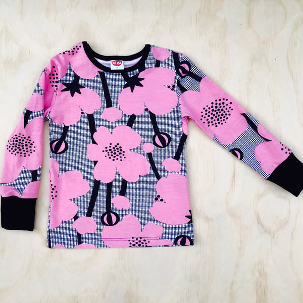 buttercup pink|black long sleeve t-shirt