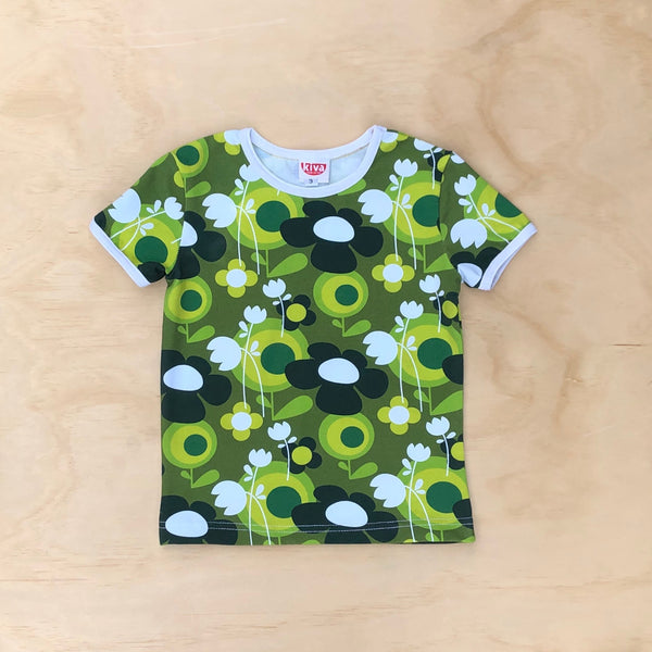 retro flower green short sleeve t-shirt