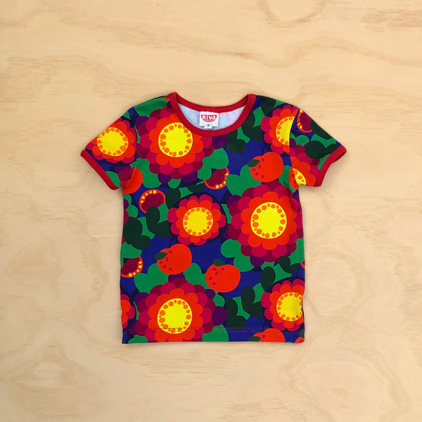 'anita' apple flowers blue short sleeve t-shirt
