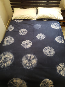 Shibori Blue Bed Cover with 2 Pillow Covers (AOC)