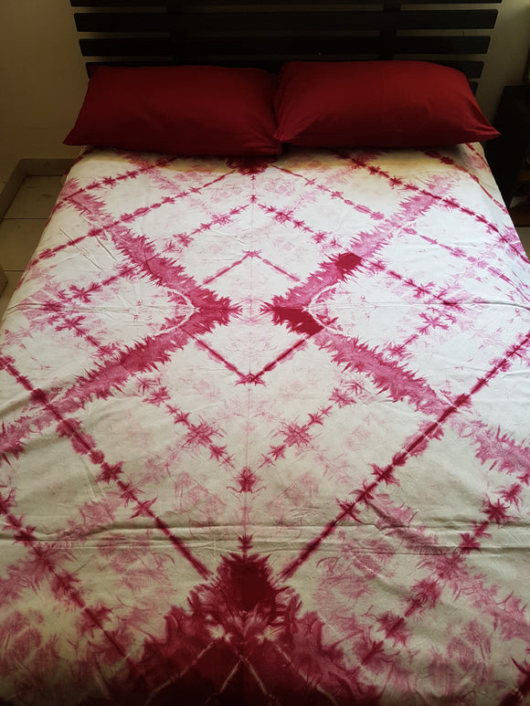 Shibori Pink Bed Cover with 2 Pillow Covers (T)