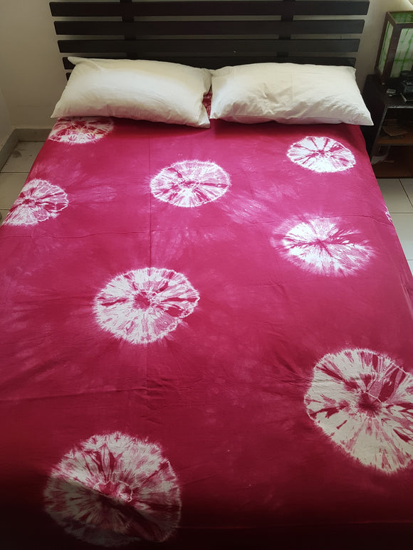 Shibori Pink Bed Cover with 2 Pillow Covers (AOC)