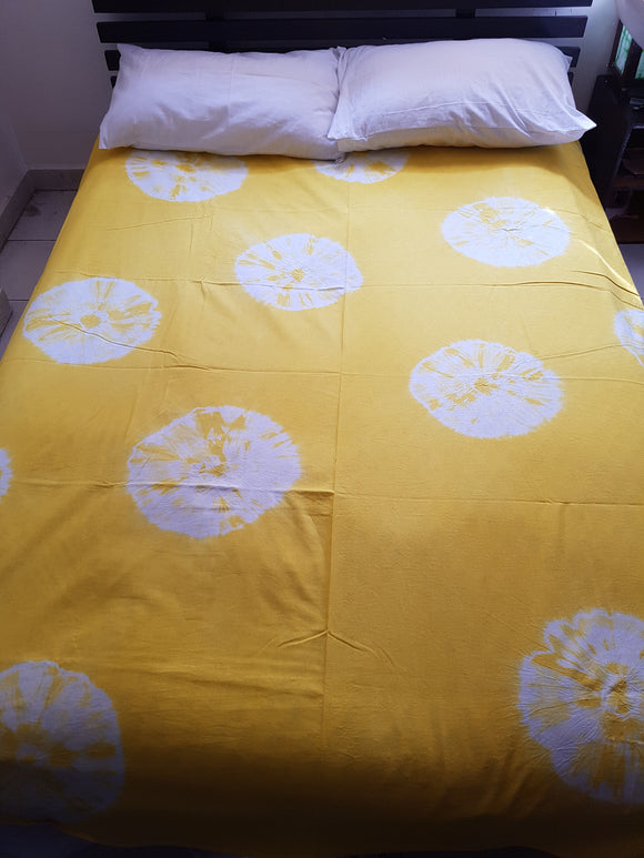 Shibori Yellow Bed Cover with 2 Pillow Covers (AOC)