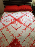 Shibori Red Bed Cover with 2 Pillow Covers (T)