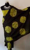 Shibori Black-Green Saree with Green Blouse (AOC)