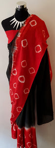 Shibori Black-Red Saree with Red Blouse (BCL)