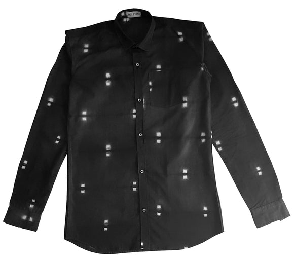 Shibori Black Slim-Fit Men's Shirt (CL)