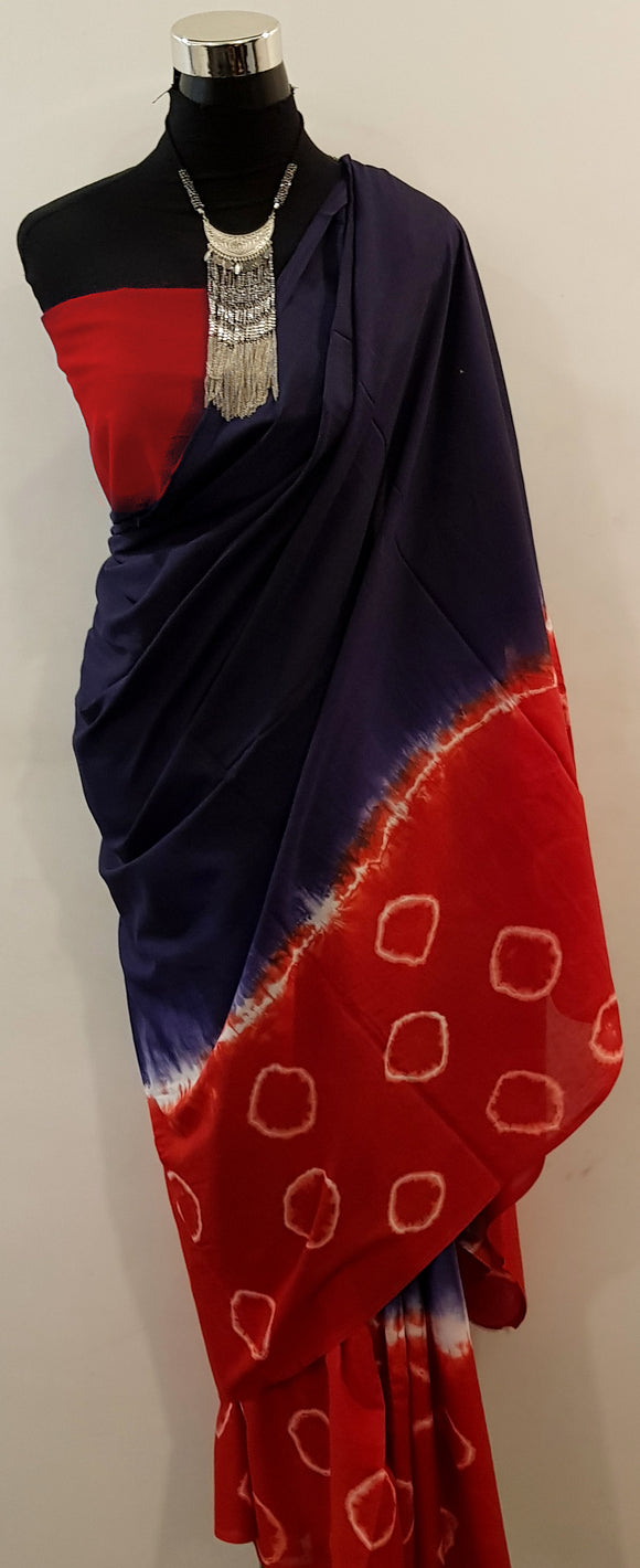 Shibori Blue-Red Saree with Red Blouse (BCL)