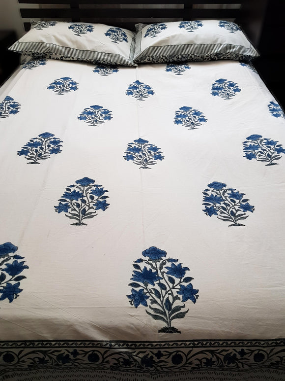 Handblock Blue Bed Cover with 2 Pillow Covers (5F)