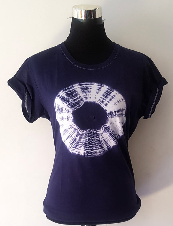 Shibori Short Sleeve Blue T-Shirt (CC)