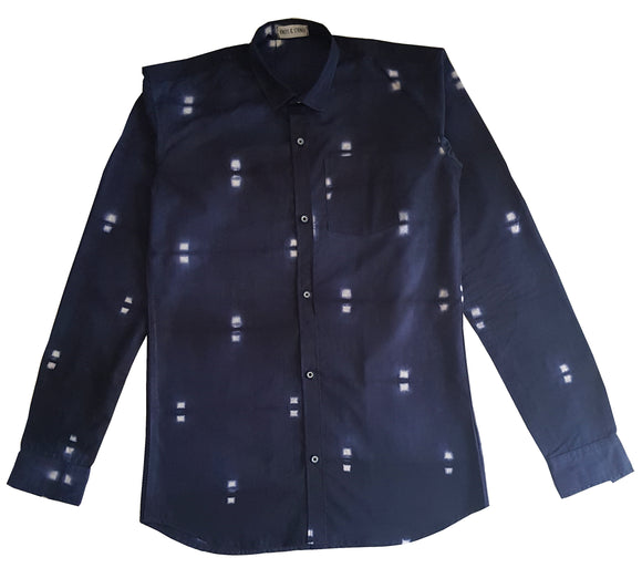 Shibori Blue Slim-Fit Men's Shirt (CL)