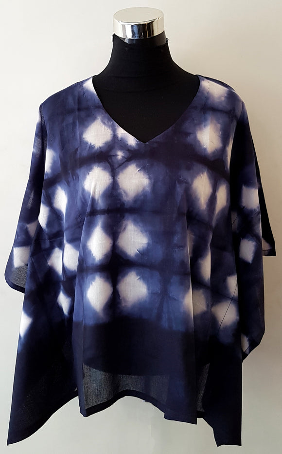 Shibori Blue Kaftan Top (D)