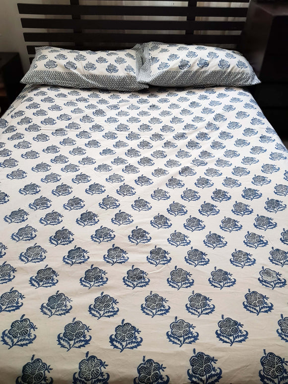 Handblock Blue Bed Cover with 2 Pillow Covers (SF)