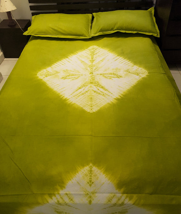Shibori Pickle Green Bed Cover with 2 Pillow Covers (DMND)