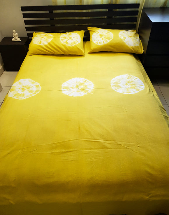 Shibori Gold Bed Cover with 2 Pillow Covers (CCLS)