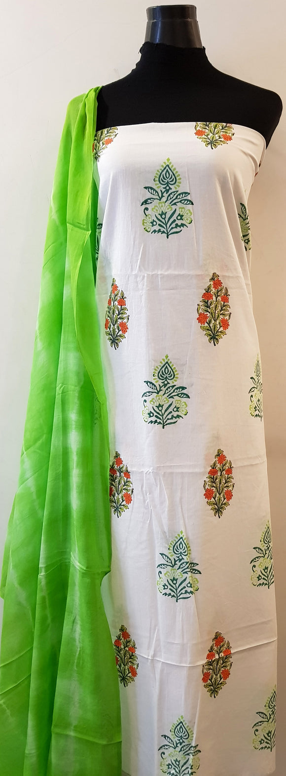 Handblock Green-Orange Kurta Material + Green Dupatta (FL-VL)