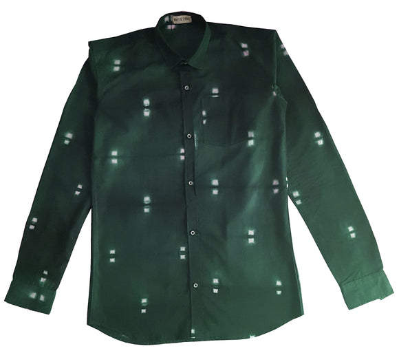 Shibori Green Slim-Fit Men's Shirt (CL)