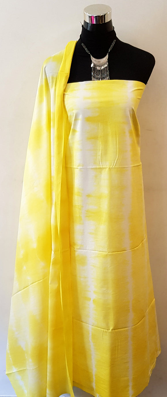 Shibori Lemon Yellow Kurta Material + Lemon Yellow Dupatta (VL-ST)