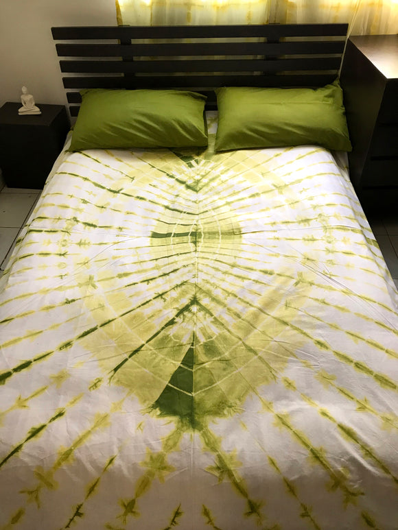 Shibori Lime Green Bed Cover with Green Pillow Covers (C)