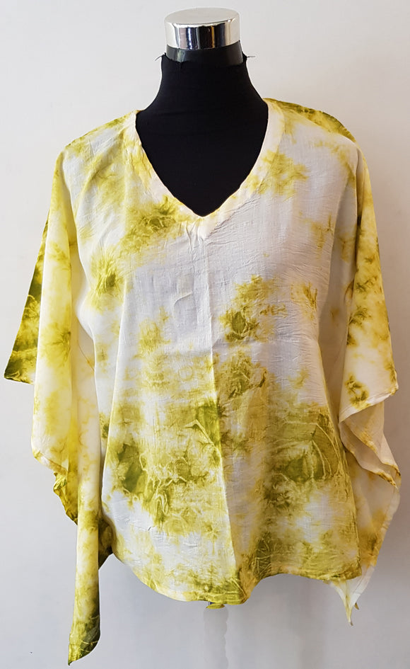 Shibori Lime Green Kaftan Top (C)