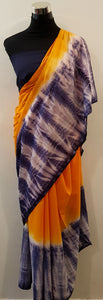 Shibori Orange-Blue Saree (ZZ-H)