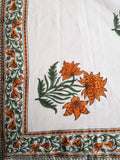 Handblock Orange Bed Cover with 2 Pillow Covers (3F)