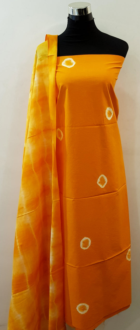 Shibori Orange Kurta Material + Orange Dupatta (AOC-ST)