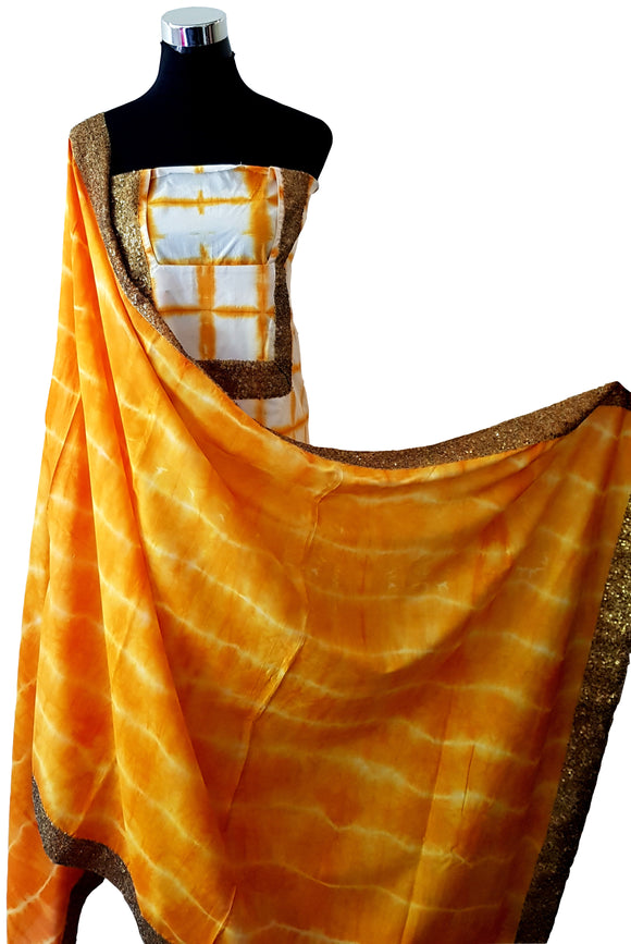 Shibori Orange Dress Material + Orange Dupatta + Orange Salwar Material (S-VL)