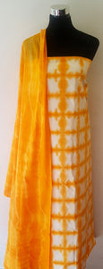 Shibori Orange Kurta Material + Orange Dupatta (S-ST)