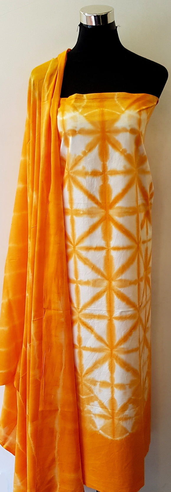 Shibori Orange Kurta Material + Orange Dupatta (T-ST)