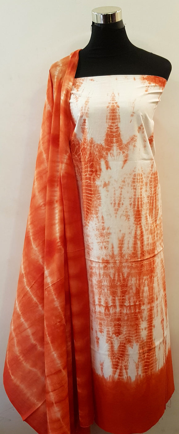 Shibori Orange Kurta Material + Orange Dupatta (ZZ-VL)