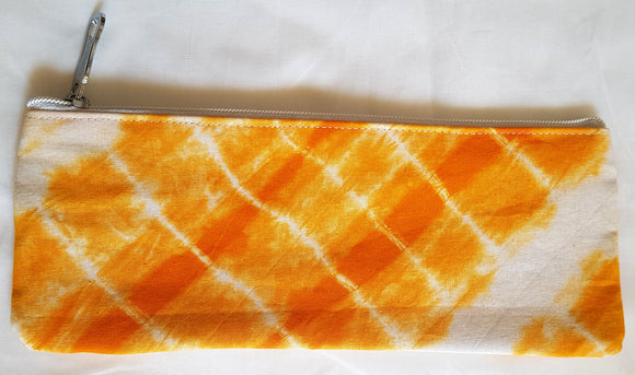 Shibori Orange Purse Pouch