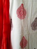 Handblock Red-Brown Kurta Material + Red Dupatta (L-VL)