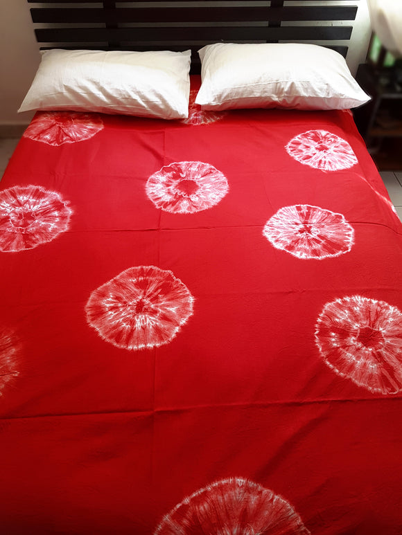 Shibori Red Bed Cover with 2 Pillow Covers (AOC)
