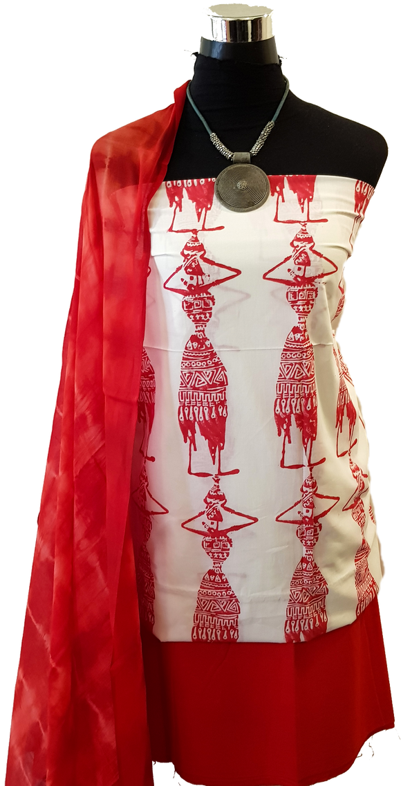 Red Hand Block Dress Material + Red Dupatta + Red Salwar Material (TL-VL)
