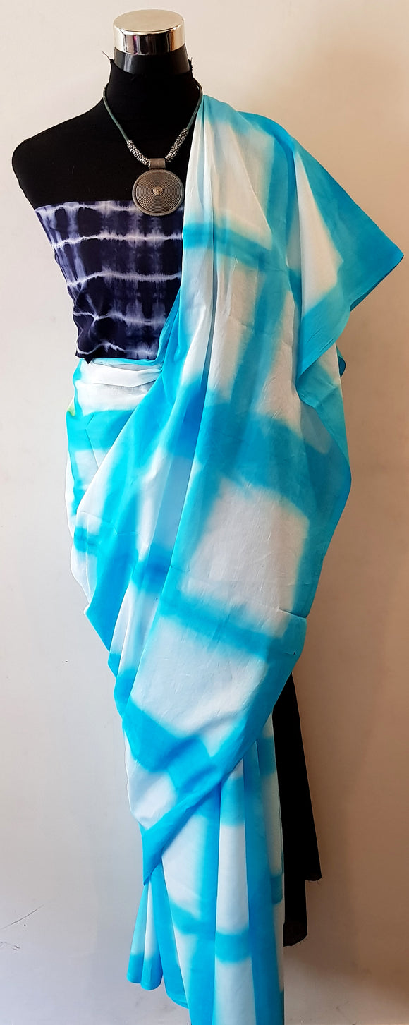 Shibori Sky Blue Saree with Blue Blouse (S-VL)