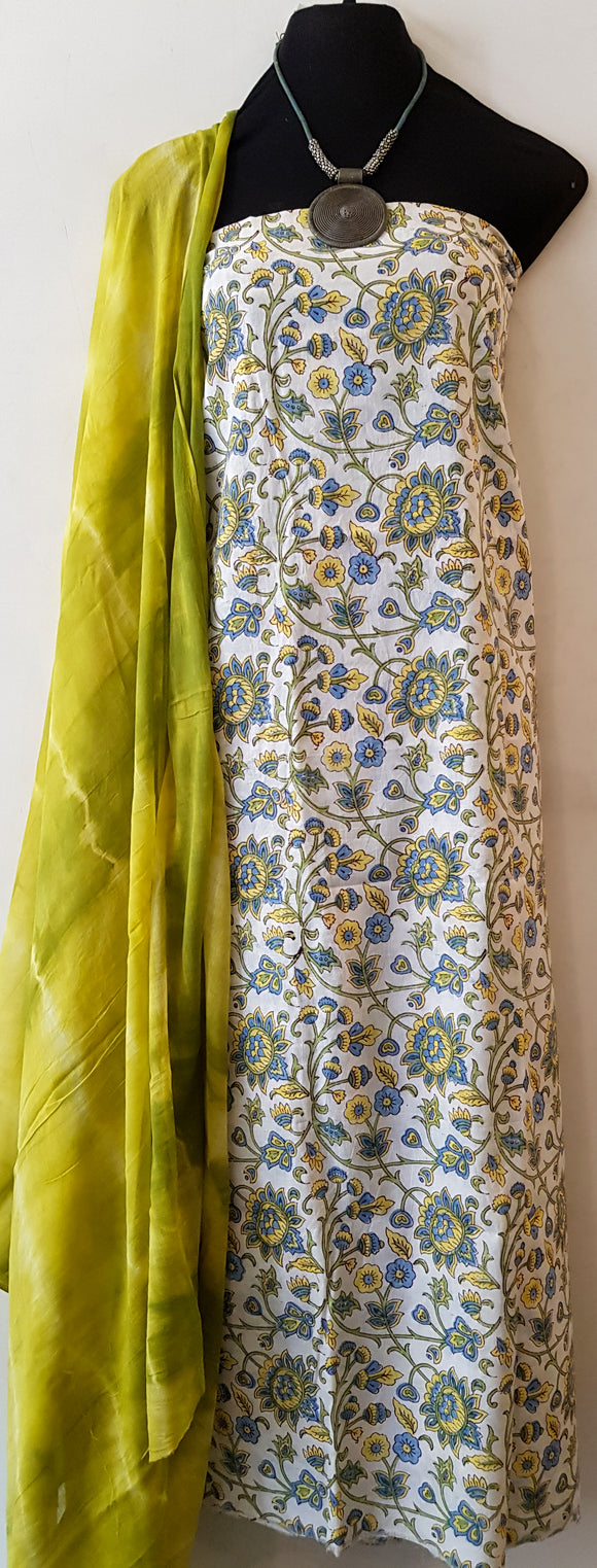 Handblock Yellow-Blue Kurta Material + Green Dupatta (VE1-ST)