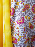 Handblock Yellow-Red Kurta Material + Yellow Dupatta (VE-ST)