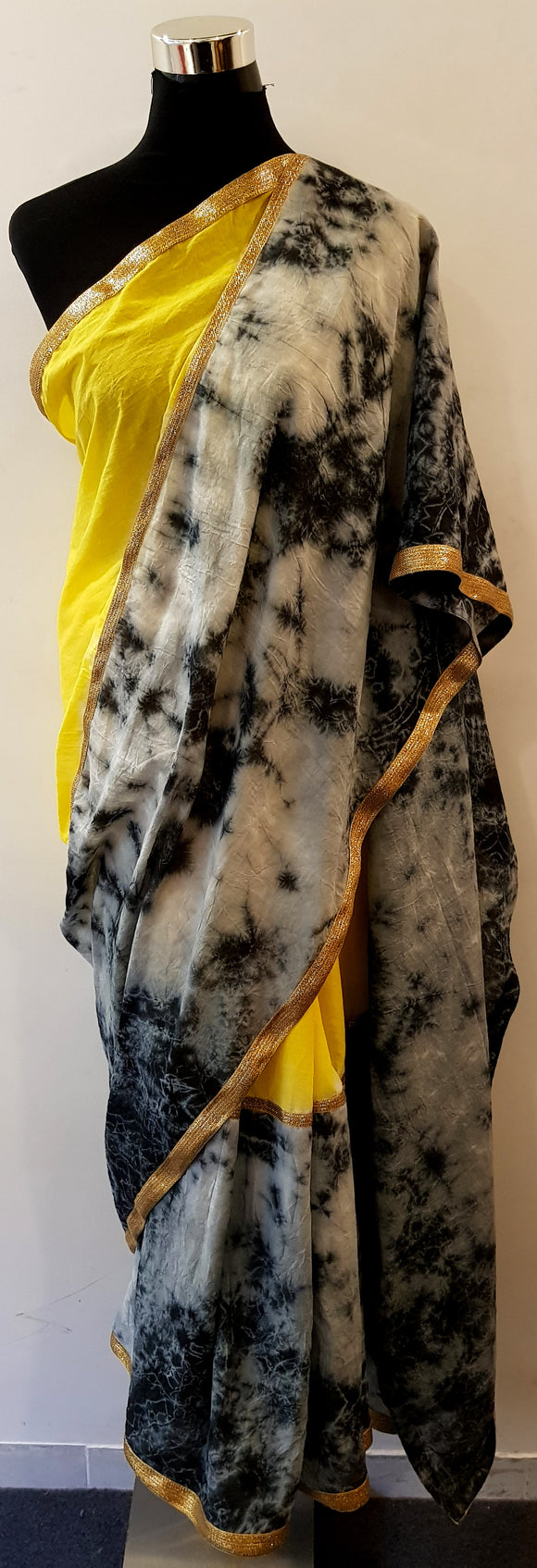 Shibori Yellow-Black Saree (C) With Gold Border
