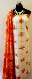 Shibori Yellow-Orange Kurta Material + Orange Dupatta (D-VL)