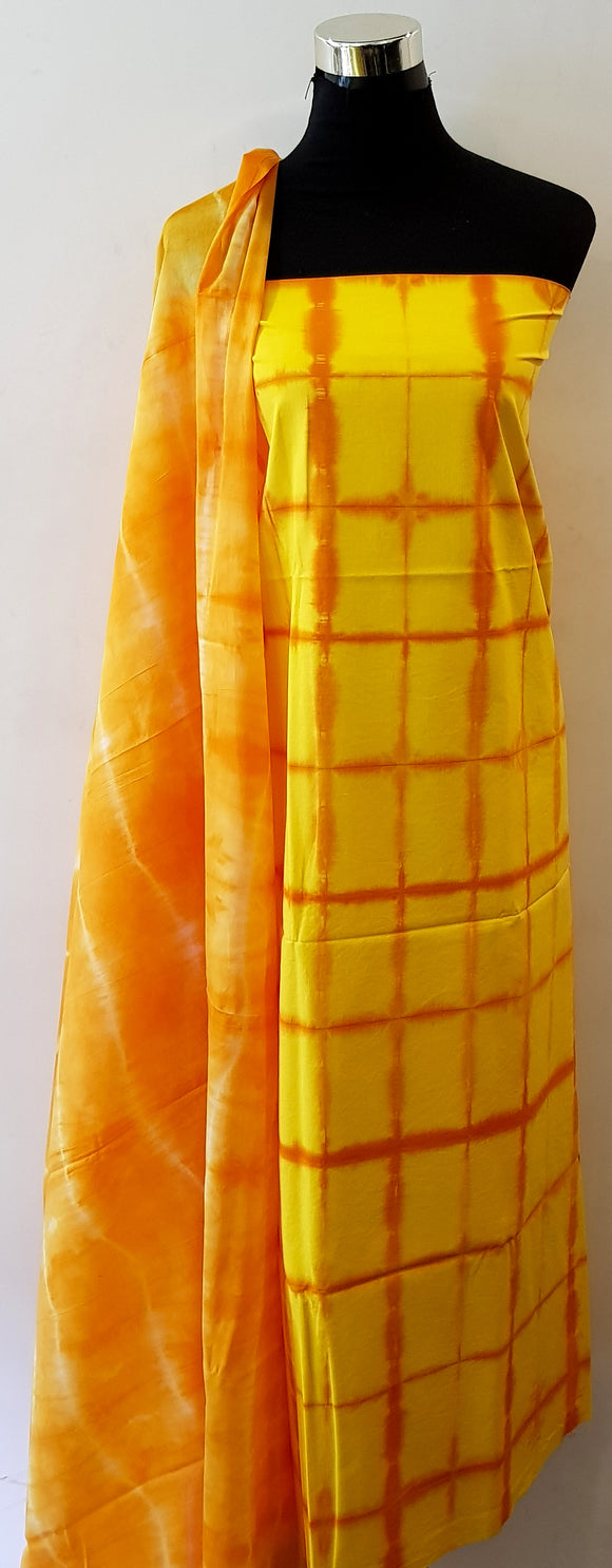 Shibori Yellow-Orange Kurta Material + Orange Dupatta (S-VL)