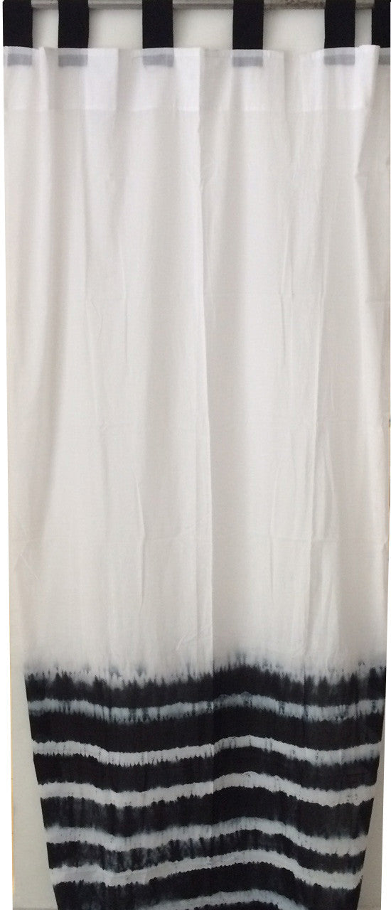 Shibori Sheer Curtain - Black Border