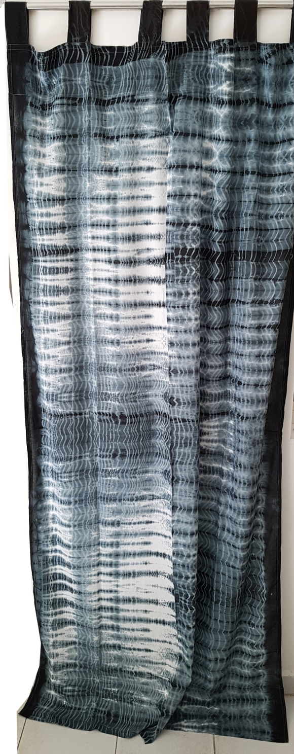 Shibori Sheer Curtain - Black