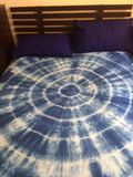 Shibori Blue Bed Cover with Pillow Covers (CC)